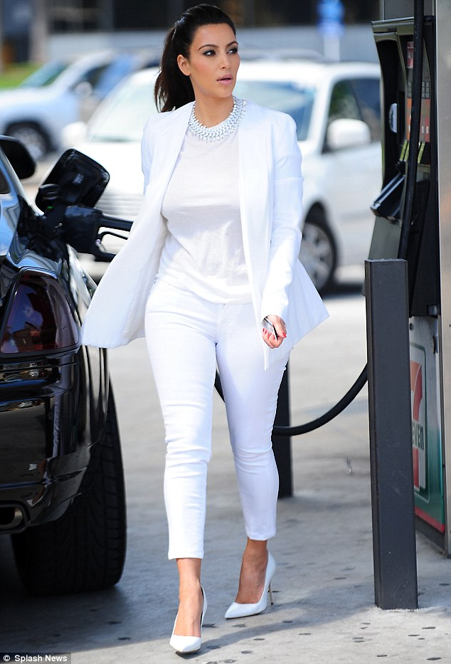 Kim Kardashian-West white on white outfit