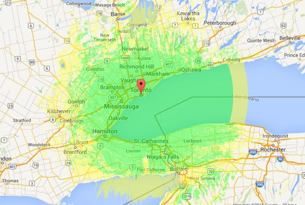 VA3XPR Coverage Area Toronto DMR ham radio repeater