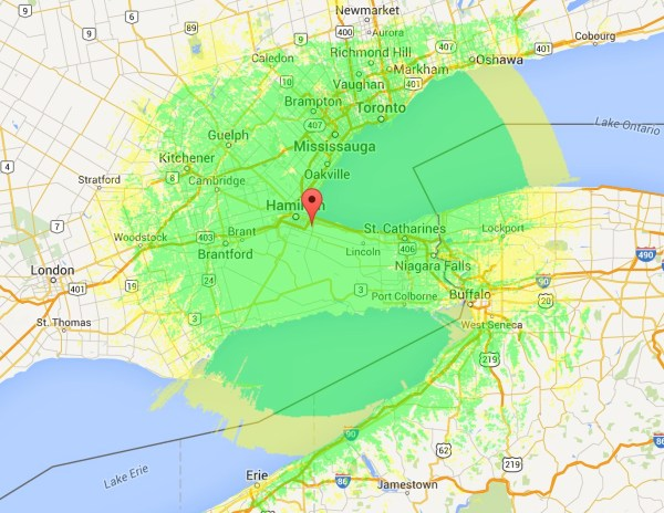 VE3UHM Coverage map Ontario DMR Hamilton DMR-MARC ham radio amateur