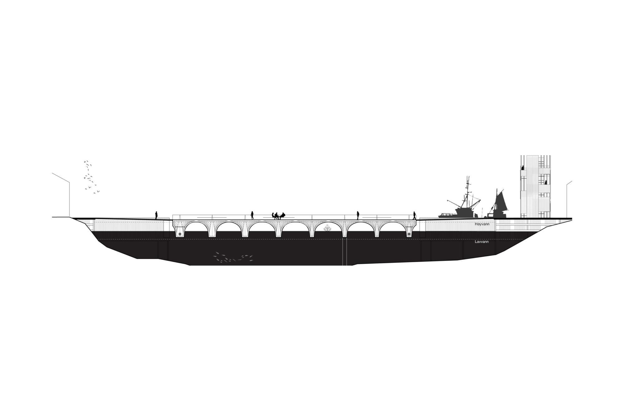 Fremtidens Fiskevær – Bro snitt – VÅG ARKITKETUR AS