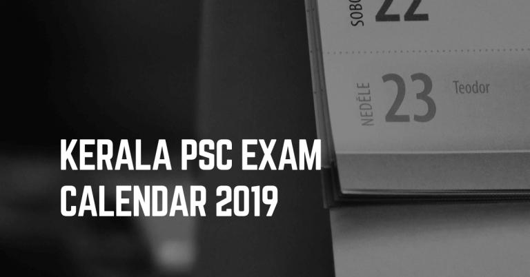 kerala psc exam calendar 2019