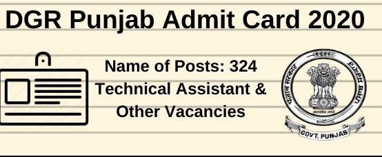 dgr punjab admit card 2020