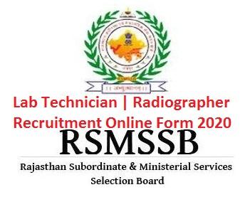 RSMSSB Lab Technician / Radiographer Online Form 2020