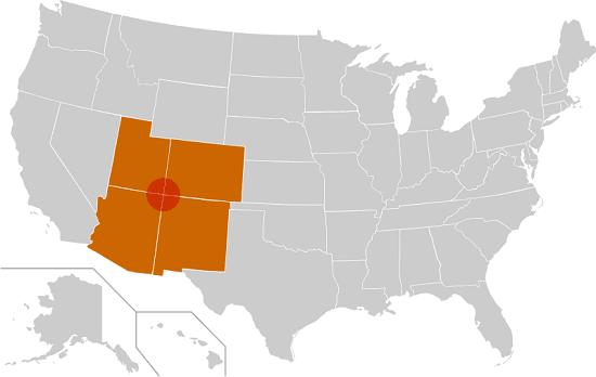 Mappa di dove si trova il Four Corners Monument