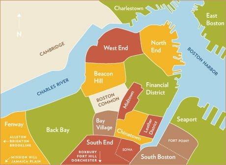 Mappa di Boston con i migliori quartieri e zone dove dormire