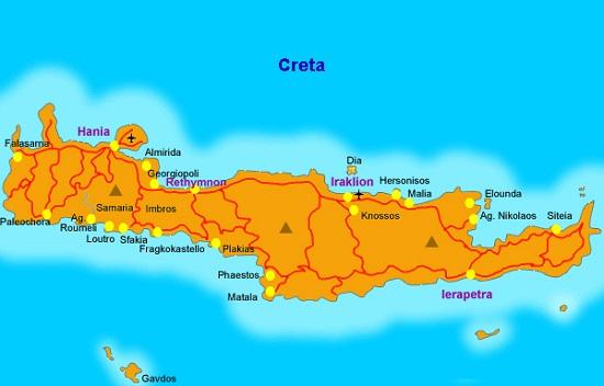 Mappa delle migliori zone dove dormire a Creta e delle principali attrazioni
