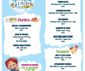 Kids menu killarney