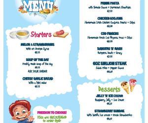Kids menu killarney