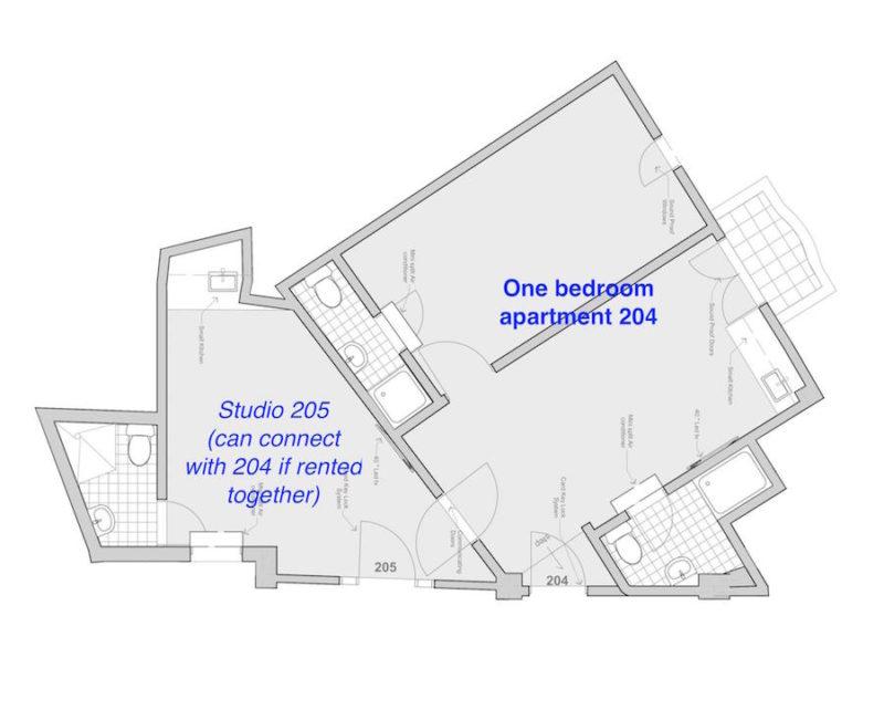 Floorplan show apartment 204 & neighboring studio 205