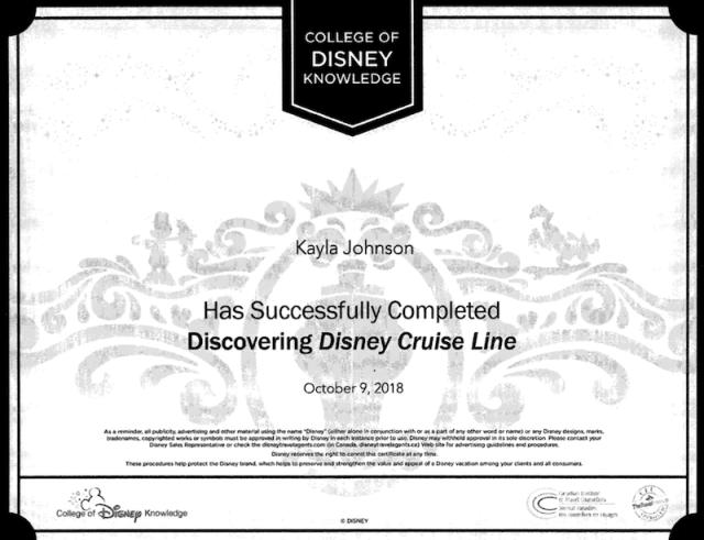 Kayla Johnson Disney Cruise Cert