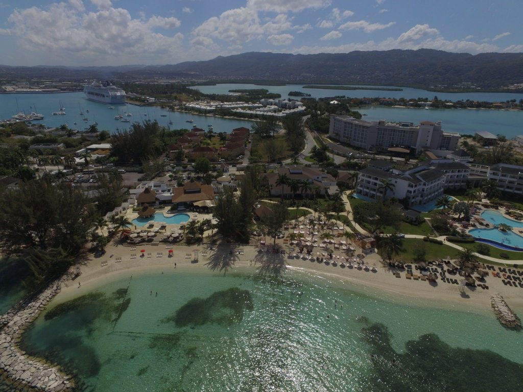Aerial footage of Secrets St James and Breathless Montego Bay