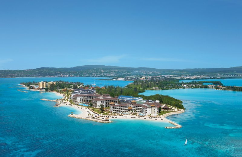 Aerial of Secrets Wild Orchid Montego Bay, situated at the tip of the peninsula