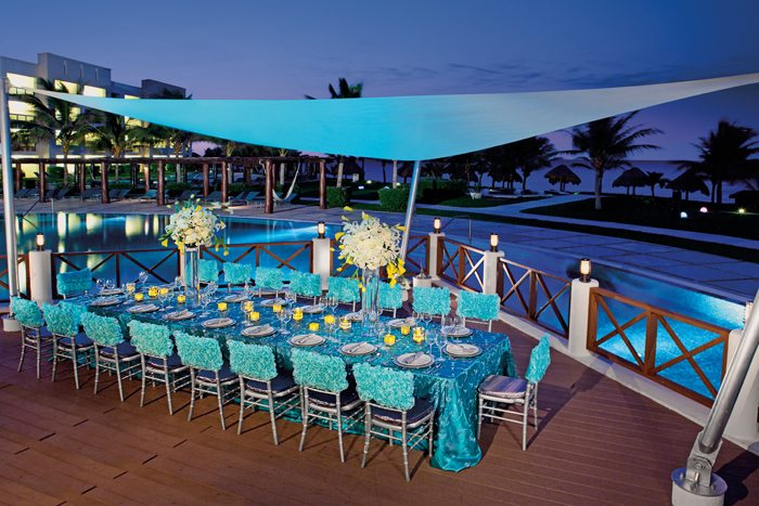 A stylish, elegant poolside setup perfect for any occasion.