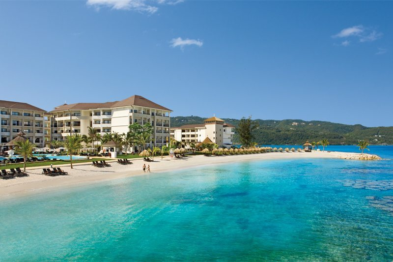 A view of Secrets Wild Orchid Montego Bay and the sugar white beach