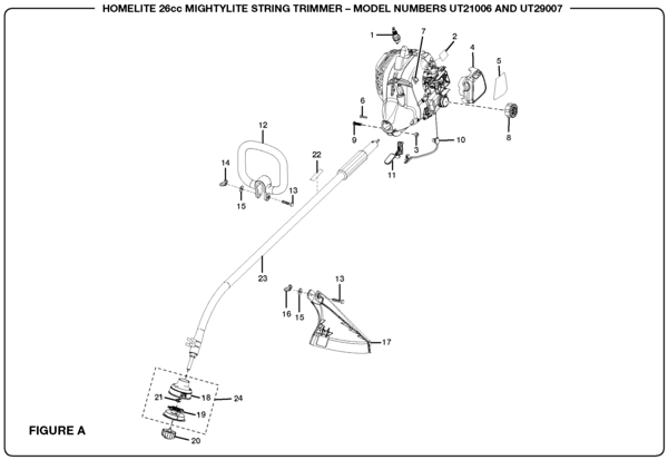Homelite UT21006 26cc Mightylite String Trimmer Parts and