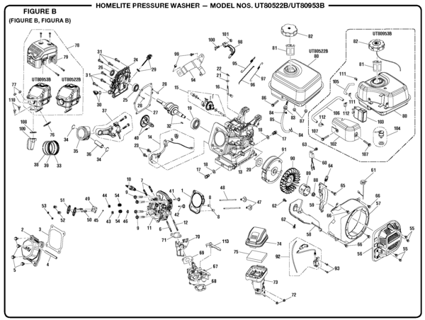 Homelite UT80953B Pressure Washer Parts and Accessories