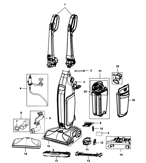Hoover FH40160 Floormate Deluxe Parts
