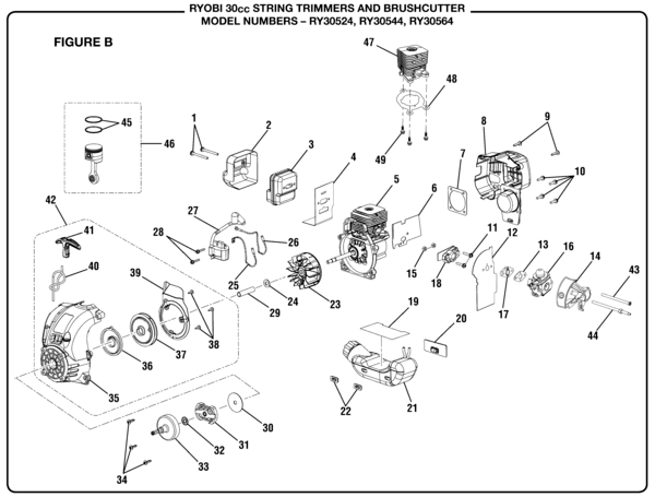 Ryobi RY30524 30cc String Trimmer Parts and Accessories
