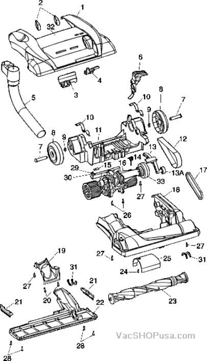 Hoover U6420 through U6471 Part Schematic