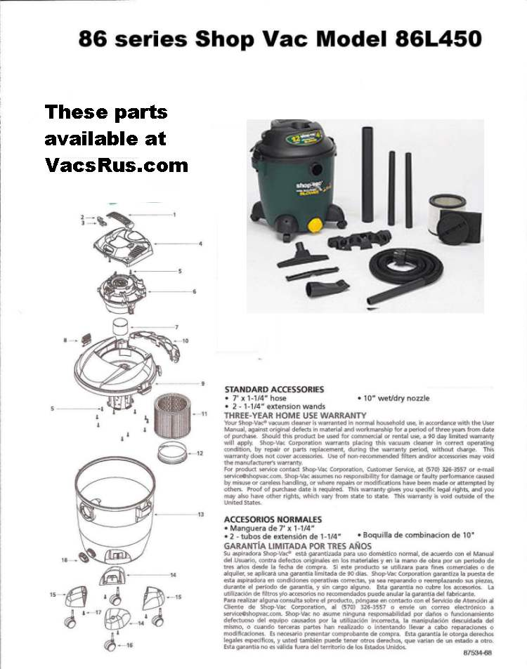 Shop Vac Model 86L450 Part Schematic
