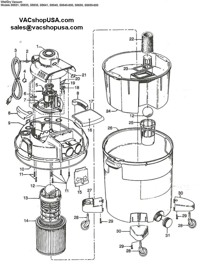 Hoover Wet Dry Vacuum Part Schematic