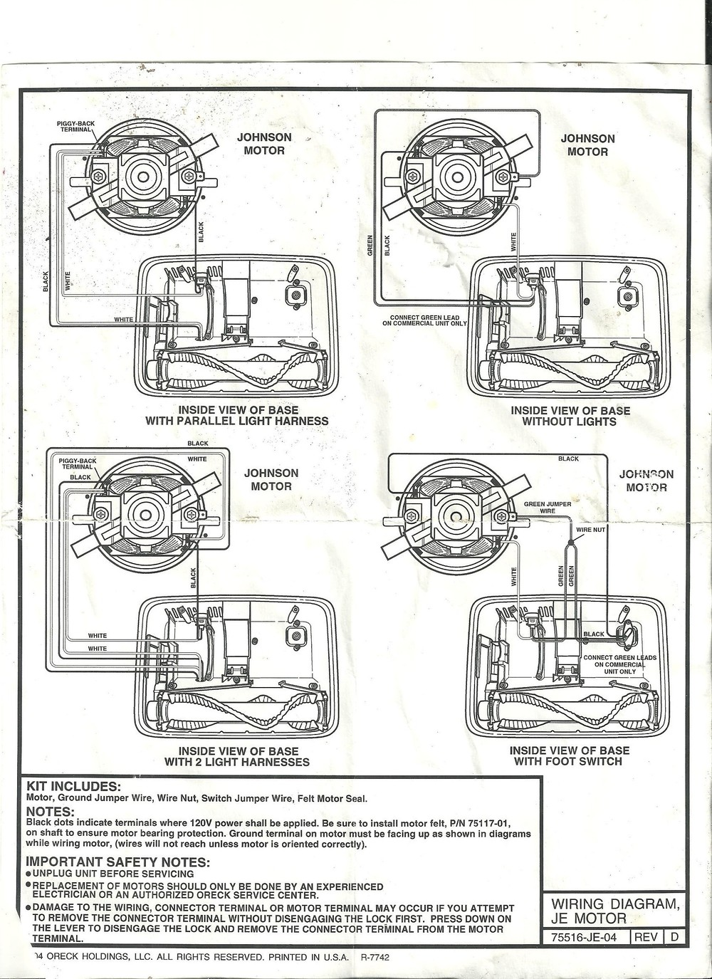 HELP ME!!! oreck xl2 motor wireing