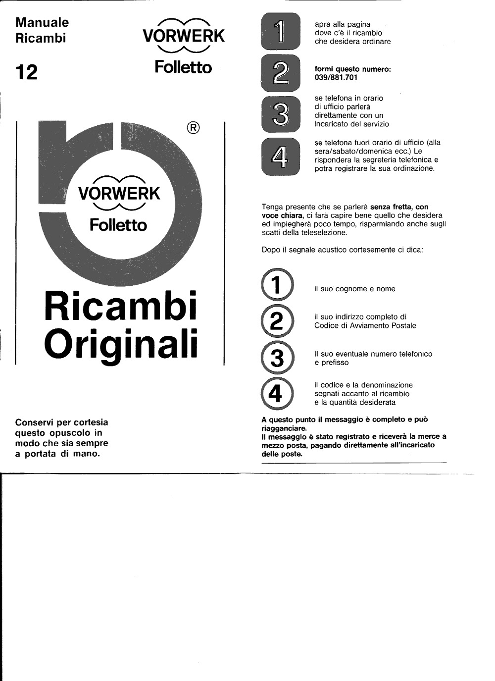 Vorwerk Folletto Spare Parts Manual #12