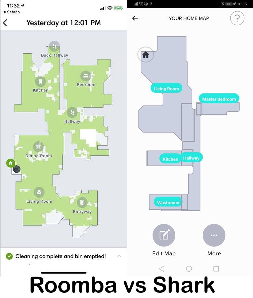 Roomba vs Shark mapping