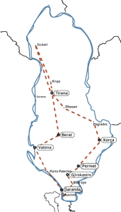 Mappa albania Gran tour