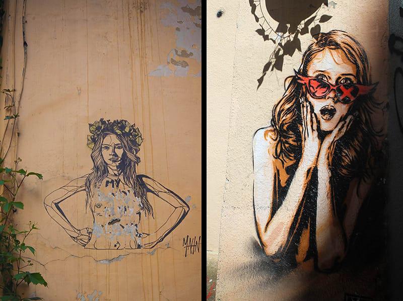 art urbain femme panier Marseille