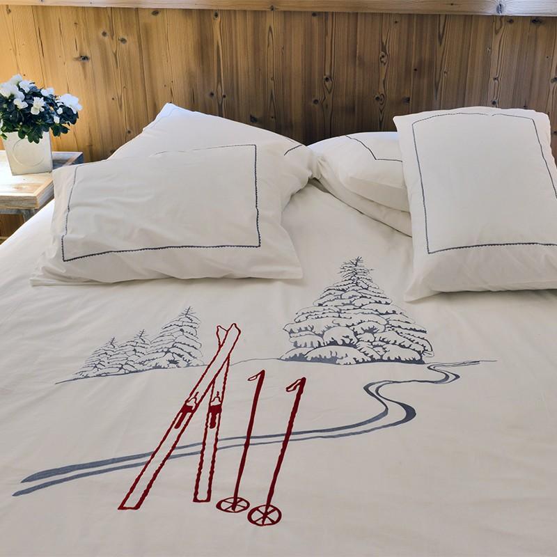 Housse de couette Trace de ski blanc deco montagne