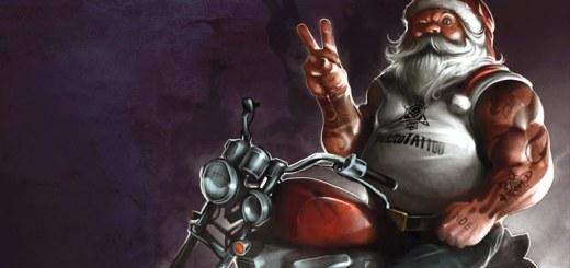 manly biker santa