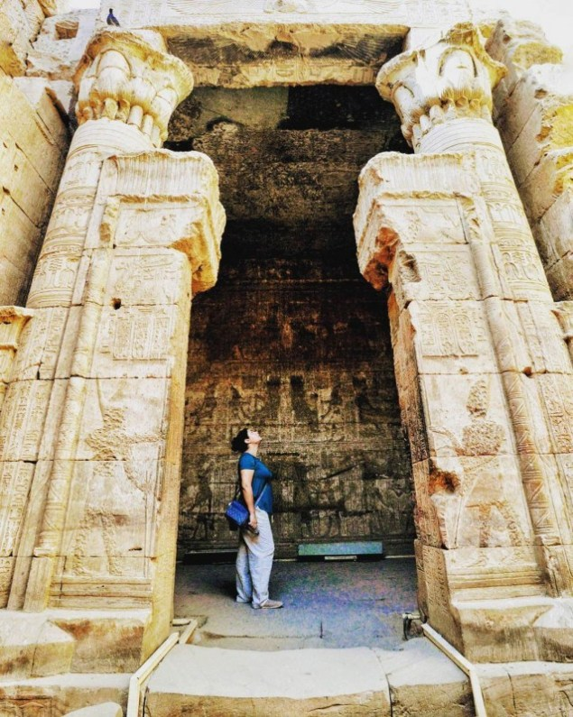 Kelsey exploring the inside of Edfu Temple