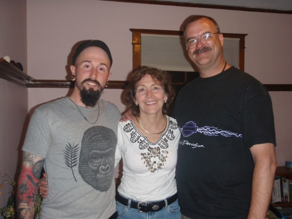 Motorcycle Bob, Irene, and Wade in Bangor
