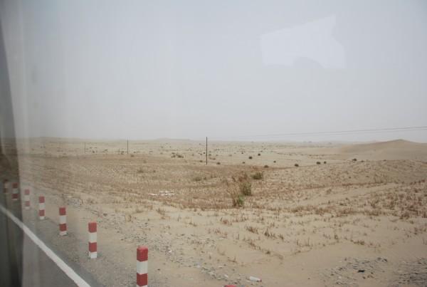 The vastness of the Taklamakan desert from the bus