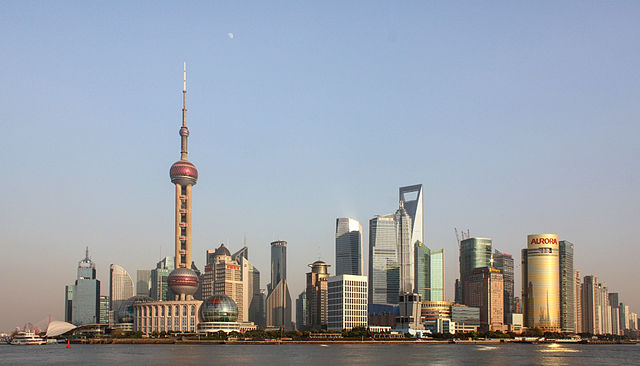 Pudong financial district in Shanghai.