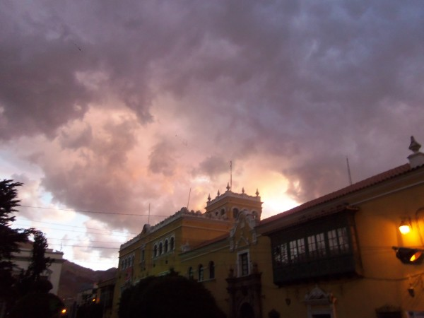 The sky above the police station as the crowd started to grow more restless