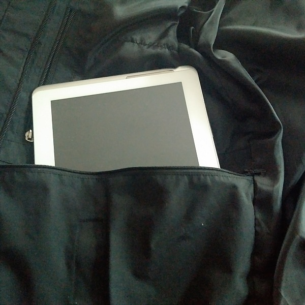 The large inside pocket can fit a tablet.