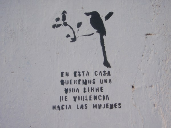 Anti-domestic violence stencil in El Salvador