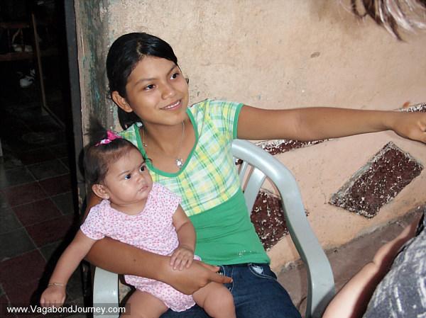 Baby in El Salvador with pierced ears
