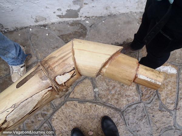 Neck of bamboo saxophone