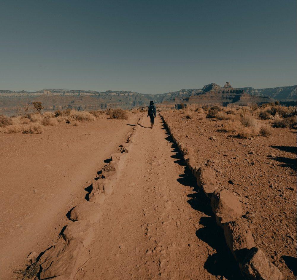 Hiking in desert