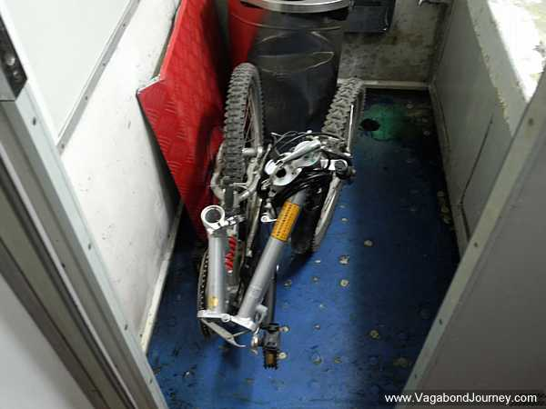 Folding bicycle on a train
