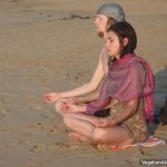 Hippies Meditating Beach