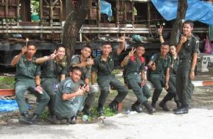 Thai soldiers giving the V-sign