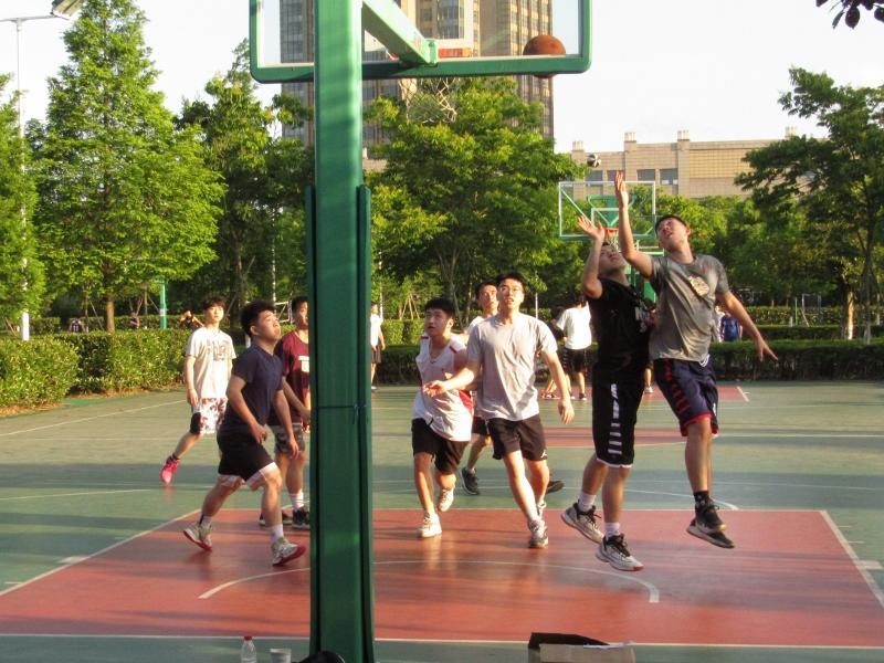 Chinese playing basketball