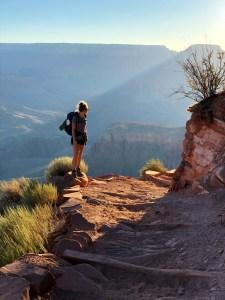 Traveler woman hiking