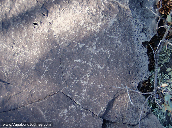 Prehistoric petroglyph with historic rock art