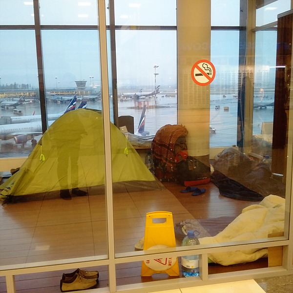 Refugee camp in the Moscow airport.