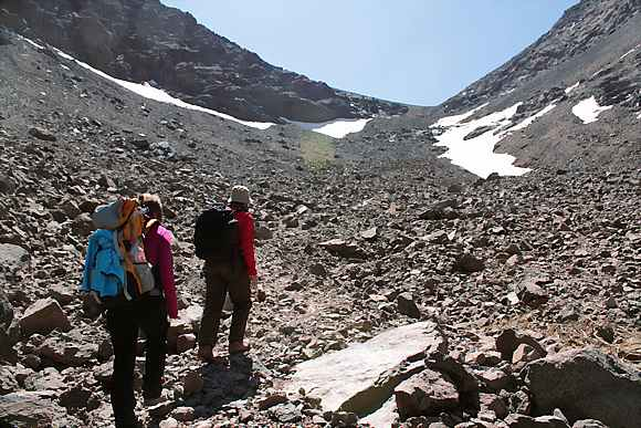 Rock and snow on Toubkal Mountain